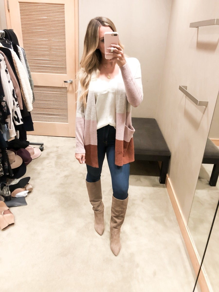 madewell cardigan | Nordstrom Anniversary Sale Early Access 2019- Best Of Basics by popular Houston fashion blog, Haute and Humid: image of woman in a dressing room wearing a Ryder Stripe Cardigan Sweater by MADEWELL, Lace Trim Satin Camisole Top by BP., 10-Inch High Waist Skinny Jeans: Button Front Edition by MADEWELL, and Hiltin Knee High Boot by SAM EDELMAN