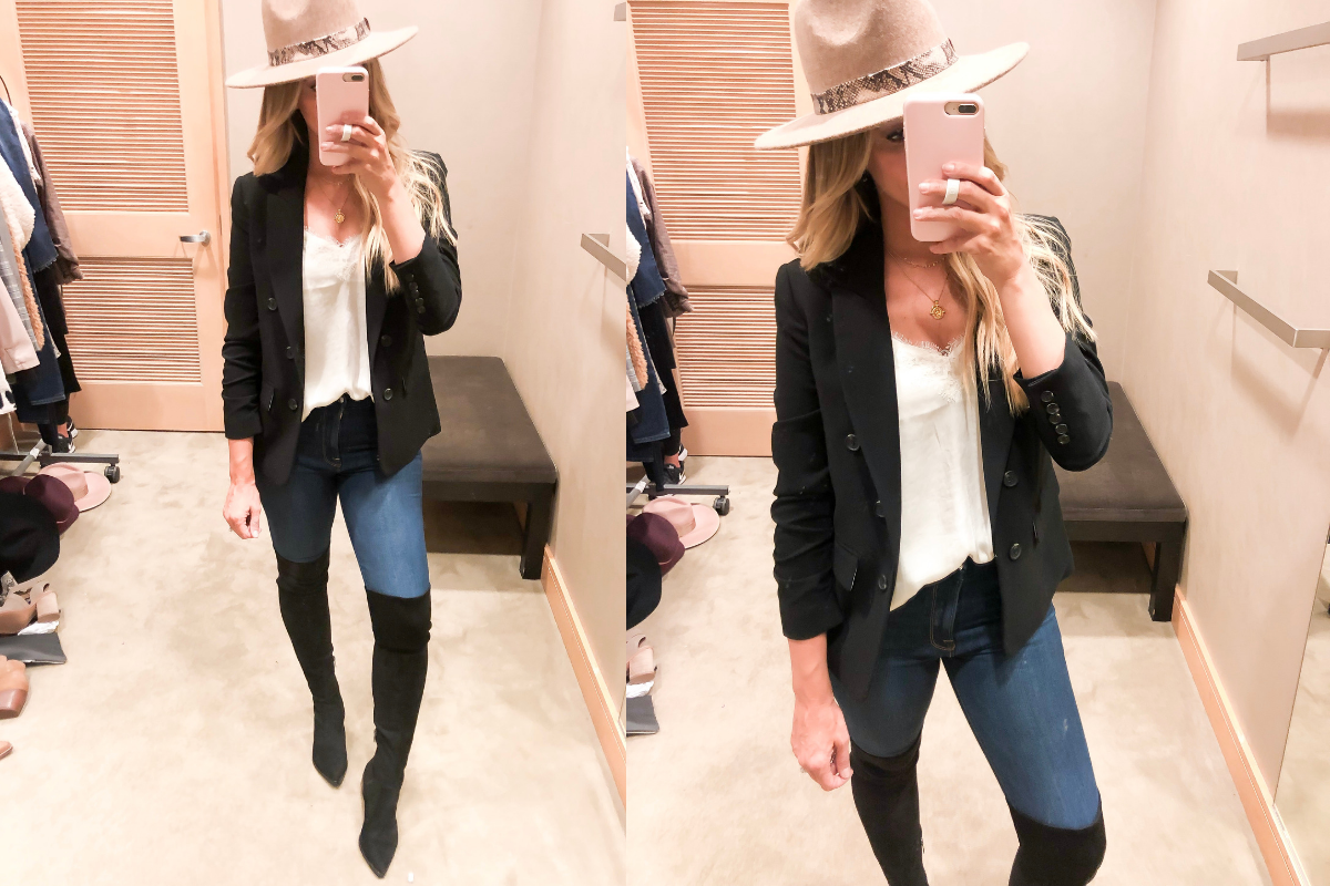 Nordstrom Anniversary Sale Early Access | Nordstrom Anniversary Sale Early Access 2019- Best Of Basics by popular Houston fashion blog, Haute and Humid: image of a woman in a nordstrom dressing room wearing a Snakeskin Trim Wool Panama Hat by TREASURE & BOND,
