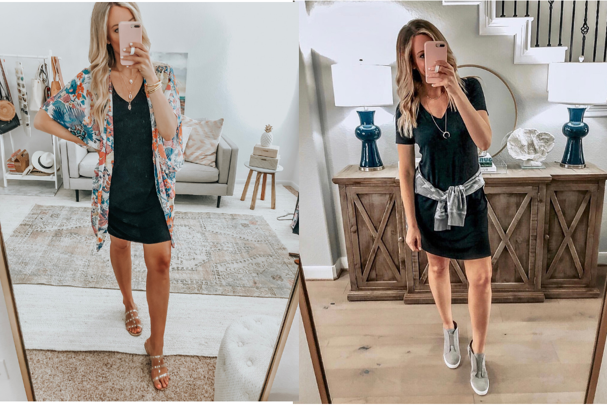 black t shirt dress | Amazon Prime Day 2019 by popular Houston life and style blog, Haute and Humid: image of woman taking a selfie in a full body mirror and wearing a black Daily Ritual Women's Jersey Short-Sleeve Scoop Neck T-Shirt Dress.