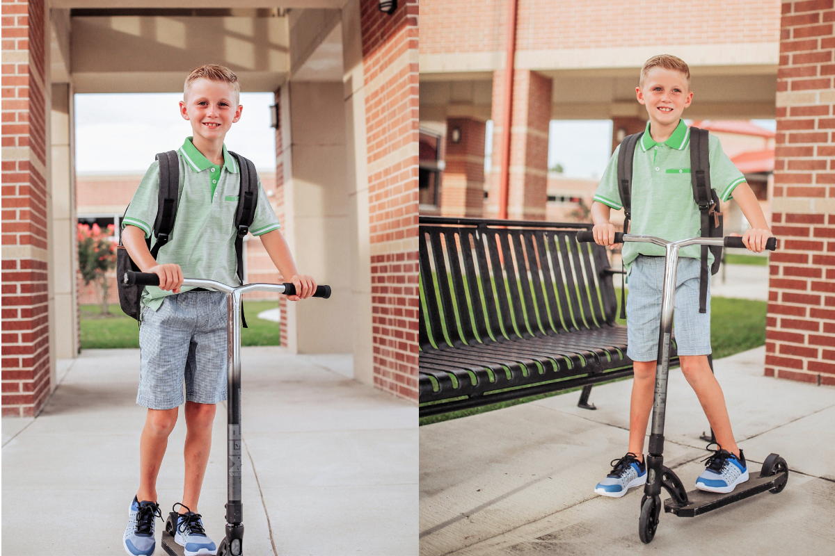boys back to school   Walmart Back To School Shopping by popular Florida fashion blog, Haute and Humid: image of boy riding his scooter in front of his elementary school and wearing  Walmart Athletic Works Boys' Slip On Cage Athletic Shoes, green Wonder Nation Short Sleeve Stretch Jersey Polo, and Wonder Nation Rib Waist Pull on Short.