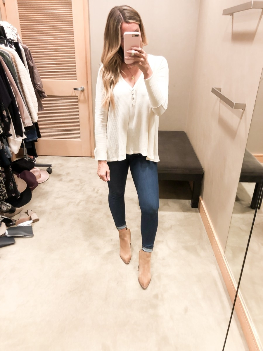 free people henley | Nordstrom Anniversary Sale Favorites by popular Houston fashion blog, Haute and Humid: image of a woman in dressing room wearing a Citrine Textured Cotton Blend Top by FREE PEOPLE and a black pair of Welles Booties by SAM EDELMAN