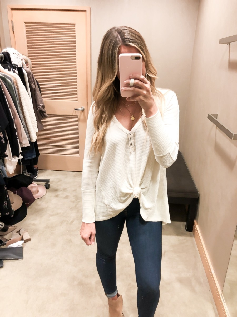 free people henley | Nordstrom Anniversary Sale Favorites by popular Houston fashion blog, Haute and Humid: image of a Nordstrom Anniversary Sale Favorites by popular Houston fashion blog, Haute and Humid: image of a woman in a dressing room wearing a Citrine Textured Cotton Blend Top by FREE PEOPLE and a black pair of Welles Booties by SAM EDELMAN