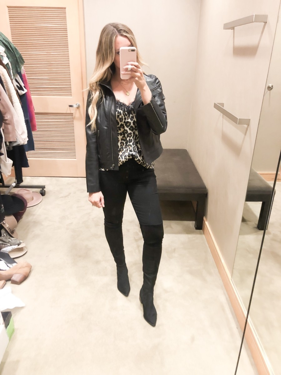 Nordstrom Anniversary Sale Favorites by popular Houston fashion blog, Haute and Humid: image of a woman in a Nordstrom dressing room wearing a Lace Trim Satin Camisole Top by BP., Yakira Over the Knee Boot by MARC FISHER LTD, and Ab-solution Skinny Ankle Jeans by WIT & WISDOM and Record Breaker Collarless Faux Leather Moto Jacket by BLANKNYC