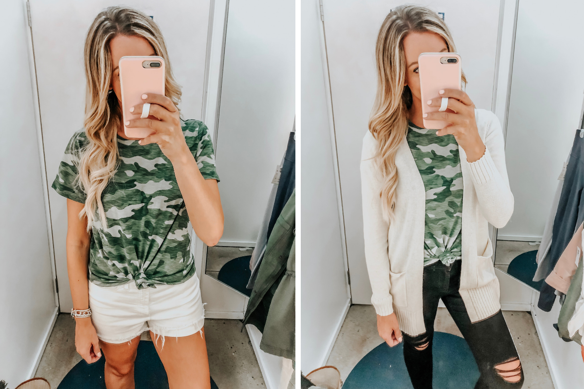 camo tee | Old Navy Try On - August 2019 by popular Florida fashion blog, Haute and Humid: image of a woman standing in a Old Navy dressing room and wearing a camo Old Navy EveryWear Slub-Knit Camo Tee for Women, Madewell High Waist Denim Shorts, Old Navy Open-Front Long-Line Sweater, and Old Navy High-Waisted Distressed Rockstar Super Skinny Jeans.
