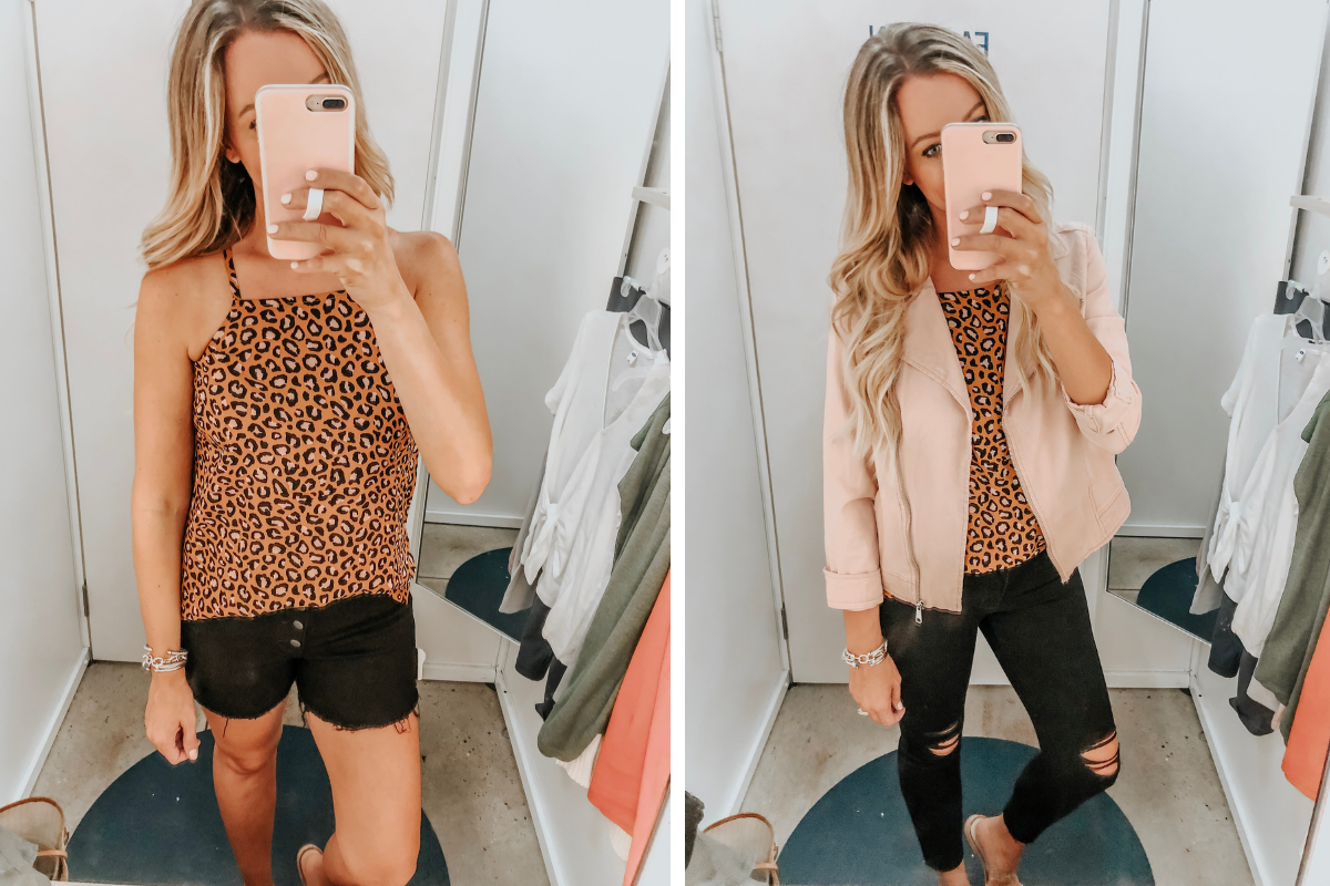 leopard tank | Old Navy Try On - August 2019 by popular Florida fashion blog, Haute and Humid: image of a woman standing in a Old Navy dressing room and wearing a Old Navy Twill Moto Jacket, High-Waisted Distressed Rockstar Super Skinny Jeans, High-Waisted Button-Fly Jean Cut-Offs, and Printed Square-Neck Cami.