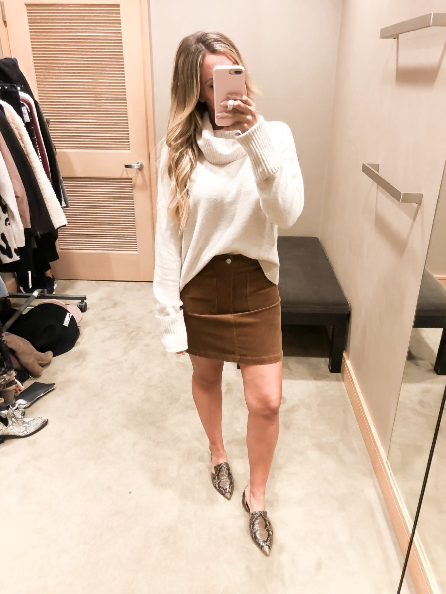 skirt and sweater | Nordstrom Anniversary Sale Early Access 2019- Best Of Basics by popular Houston fashion blog, Haute and Humid: image of woman in a Nordstrom dressing room wearing a Toby Flat SARTO BY FRANCO SARTO, Corduroy Miniskirt by BP., and Cowl Neck Sweater by CHELSEA28.