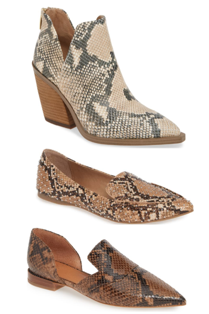 snake print flats | Nordstrom Anniversary Sale Early Access 2019- Best Of Basics by popular Houston fashion blog, Haute and Humid: image of a Gigietta Bootie by VINCE CAMUTO, Feather Studded Loafer by STEVE MADDEN, and Toby Flat SARTO BY FRANCO SARTO.