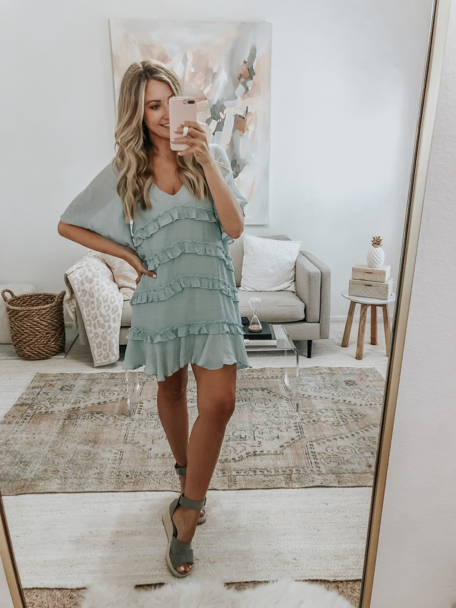 fall dress | 6 Early Fall Outfits With Vici by popular Houston fashion blog, Haute and Humid: image of a woman wearing a Vici Let's Tango Pocketed Ruffle Dress.