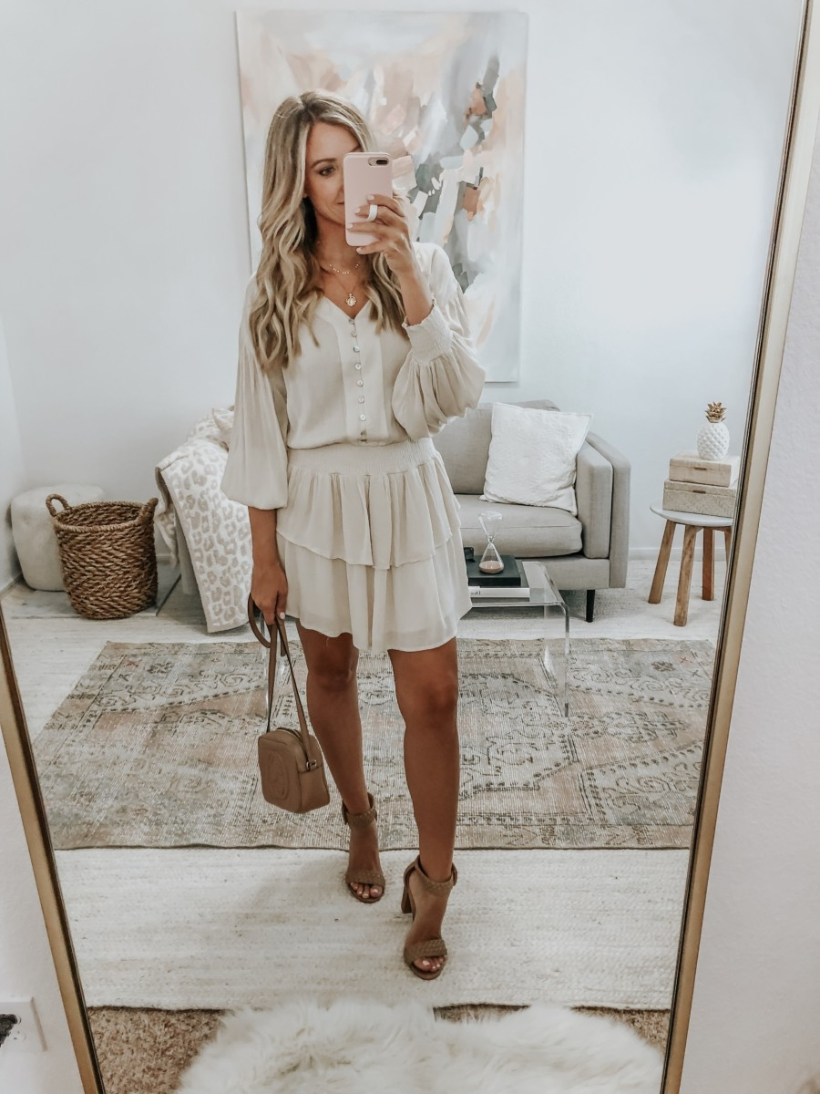cream dress | 6 Early Fall Outfits With Vici by popular Houston fashion blog, Haute and Humid: image of a woman wearing a Vici Sundown Smocked Tiered Dress and Vici Aspyn Braided Block Heeled Sandal.