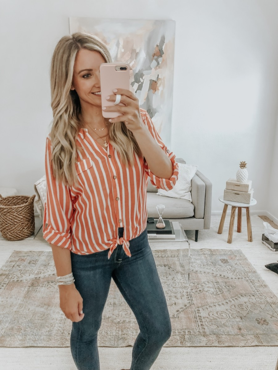 fall top | 6 Early Fall Outfits With Vici by popular Houston fashion blog, Haute and Humid: image of a woman wearing a Vici Roll with the Tide Stripe Button Down Tie Top.