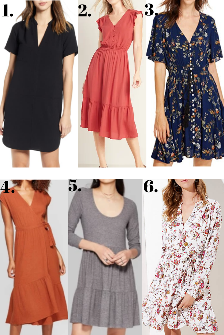 fall dresses | 18 Cute Fall Dresses Under $100 by popular Houston fashion blog, Haute and Humid: collage image of | 18 Cute Fall Dresses Under $100 by popular Houston fashion blog, Haute and Humid: collage image of fall dresses.