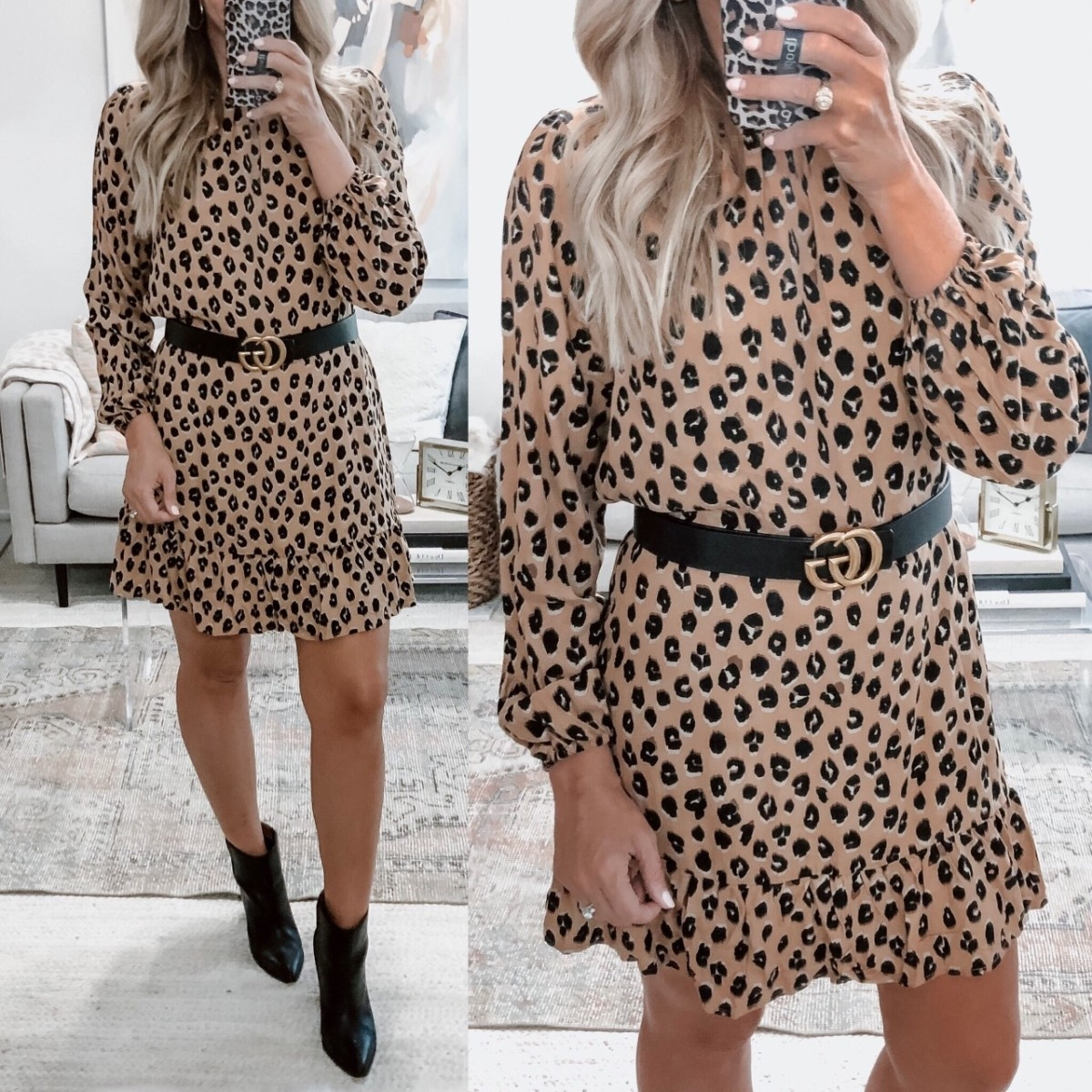 leopard dress | 18 Cute Fall Dresses Under $100 by popular Houston fashion blog, Haute and Humid: image of a woman wearing a Target A New Day Women's Animal Print Long Sleeve Round Neck Mini Crepe Dress.